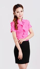 女式短袖衬衫CS-8364玫红色款