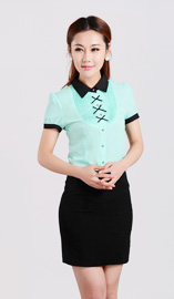 女式短袖衬衫CS-8367浅绿色款